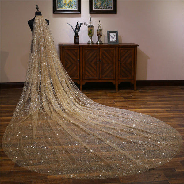 Champagne Fabulous Sequin Tulle Cathedral Wedding Veil