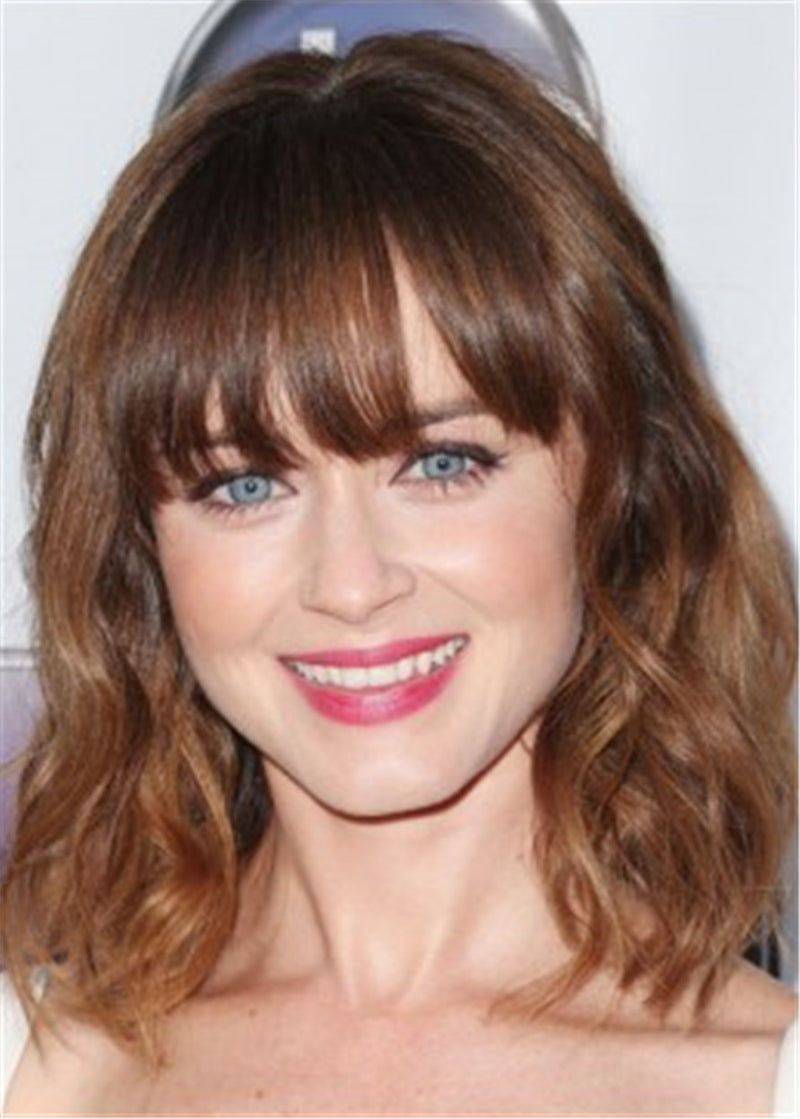 Alexis Bledel Medium Wavy Cut Synthetic Hair Lace Front Wig With Bangs