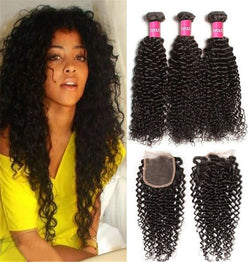 Peruvian Human Hair Deep Wave 3 bundles with Closure 4Packs
