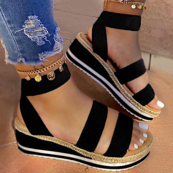 Wedge Heel Elastic Band Ankle Strap Open Toe Platform Plain Sandals