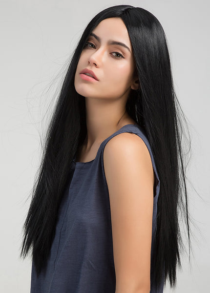 Women Capless Straight Synthetic Hair 24 Inches Wigs