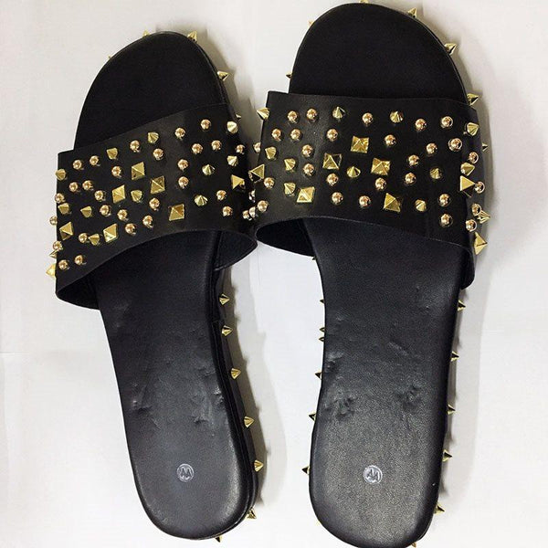 Rivet Flip Flop Flat With Slip-On Slippers
