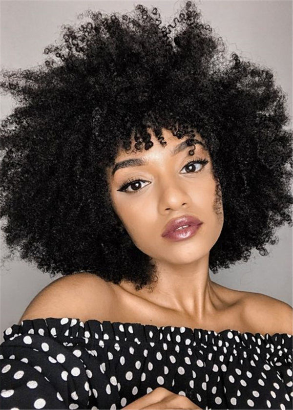 Afro Curly Hairstyle Black Capless Women Synthetic Hair Wigs