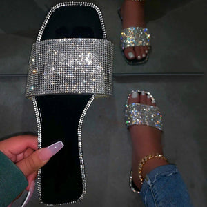 Rhinestone Slip-On Flat With Flip Flop Slippers