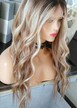 Multicolor Long Women's Wigs Lace Front Wave Synthetic Hair