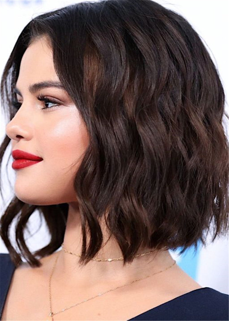 Selena Gomez Hairstyle Cut Synthetic Wavy Lace Front Wig 16 Inches