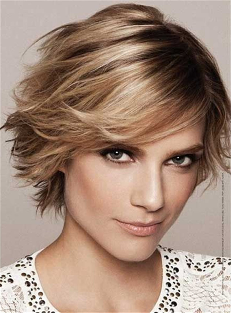 Feathered Pixie Haircut Short Straight Lob Synthetic Hair Capless Wig 10 Inches