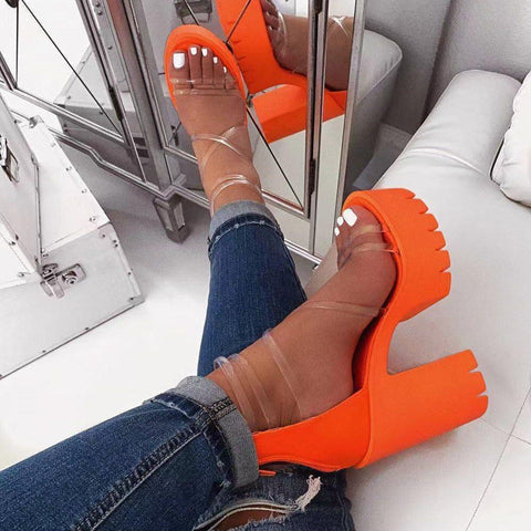 Chunky Heel Open Toe Zipper Heel Covering See-Through Plain Sandals