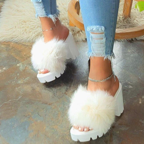 Flip Flop Chunky Heel Slip-On Platform Summer Plain Slippers
