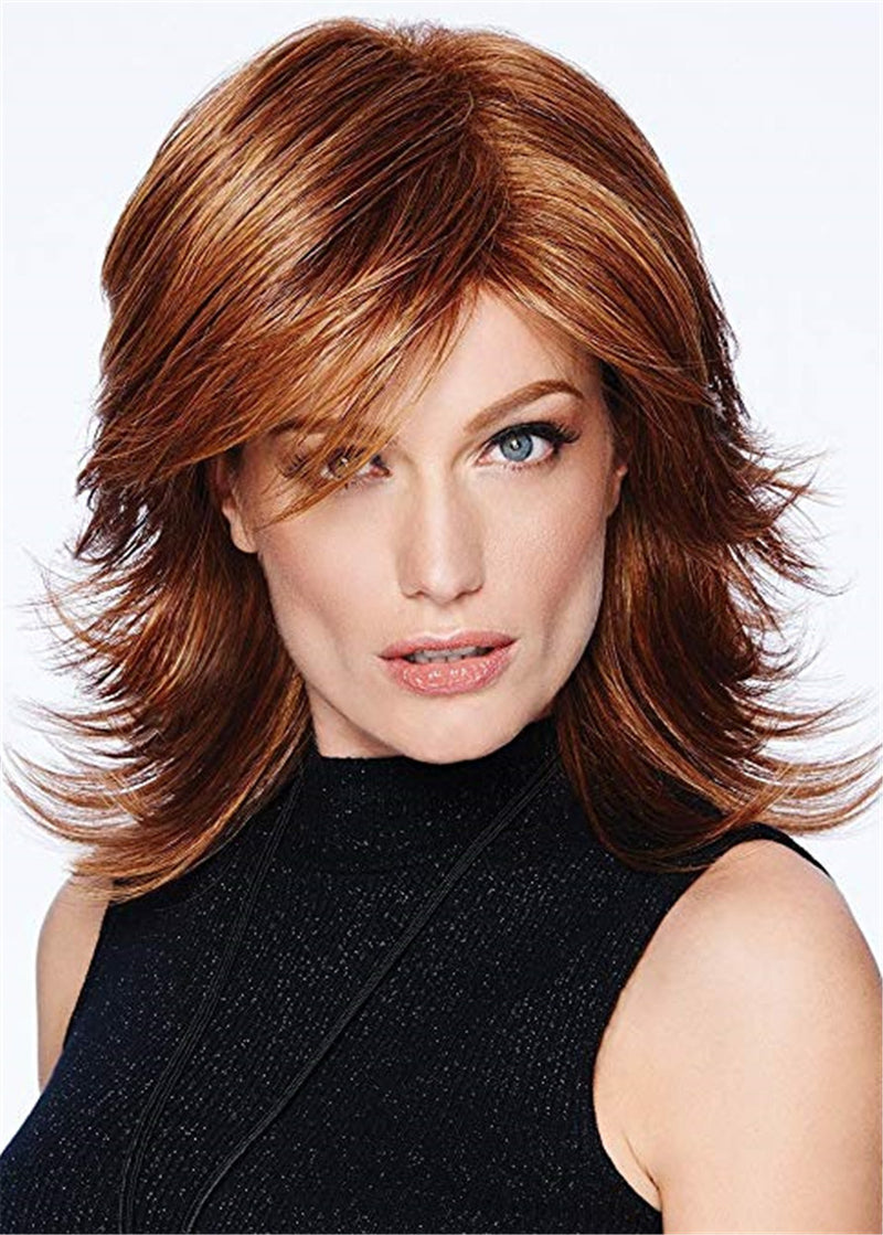 Mid Length Layered Cut Synthetic Hair Wavy Capless Wig 16 Inches