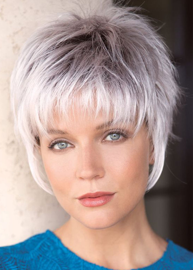 Women Short White Synthetic Hair Wigs With Bangs Lace Front Wigs 12INCH