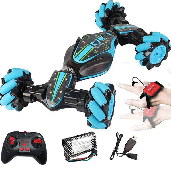 Stunt Remote Control Car - GW124 Gesture Sensing Twisting Vehicle & Rc Drift Car, 40 Minutes of Use, 7.4v (1200MA) Ultra-large Capacity High-speed Power for 3 4 5 6 7 8-12 Year Old Boy Toys (Blue)