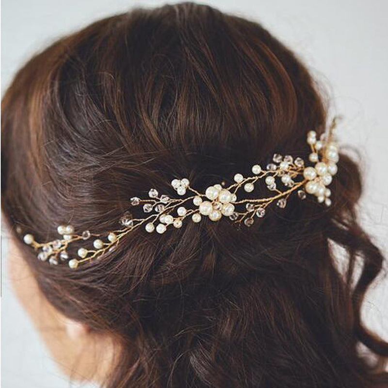 Handmade Pearl Head Flower Wedding Bride Hair Vine