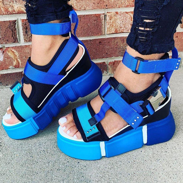 Open Toe Velcro Platform Casual Thread Sandals