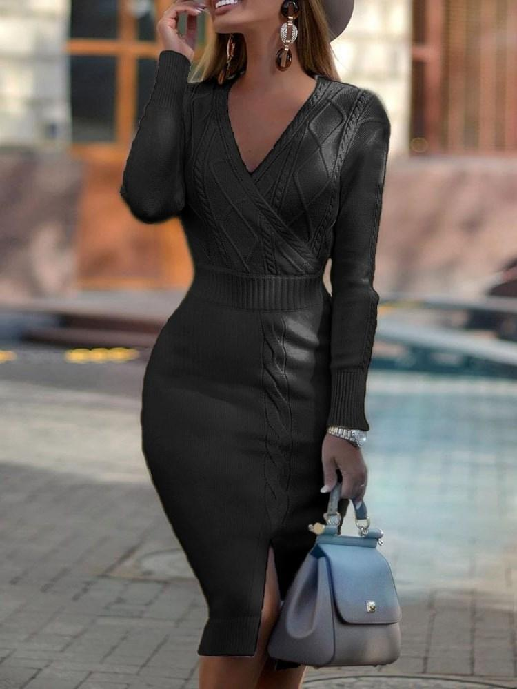 Long Sleeve V-Neck Mid-Calf Pullover Sweater Dress