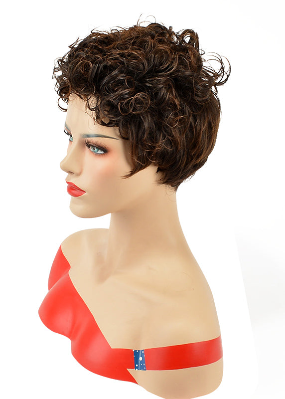 Top Quality Natural African American Hairstyle Short Curly Wig