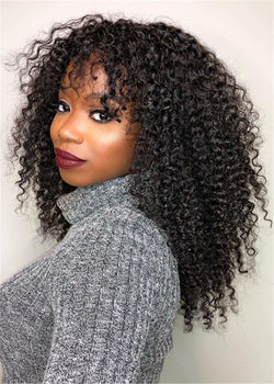 Women Lace Front Cap Kinky Curly Human Hair 16 Inches Wigs