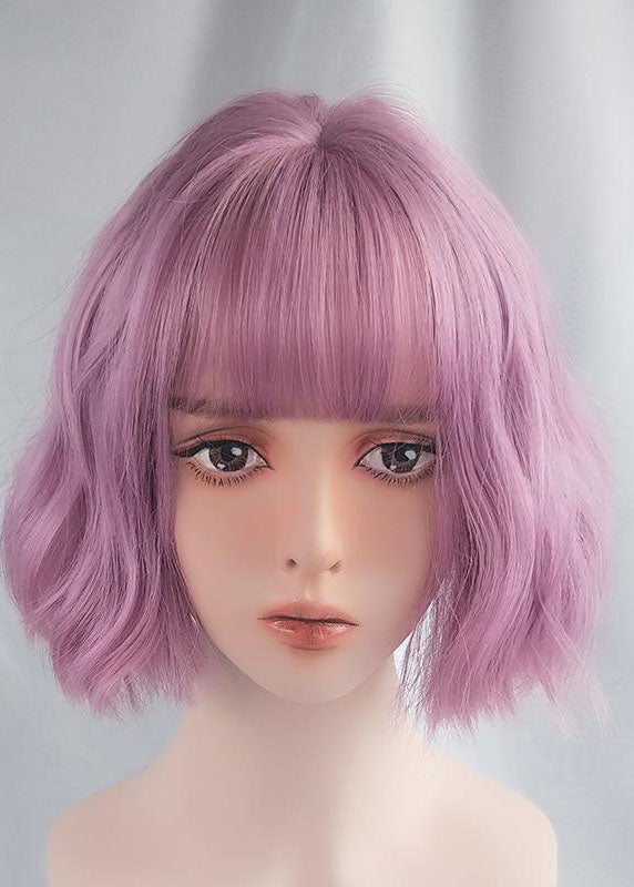 Purple Wig Female Short Hair European and American Fashion Natural Color New Wigs