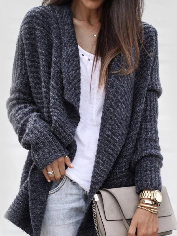 Dark Gray Wrapped Long Sleeve Loose Cardigan Sweater