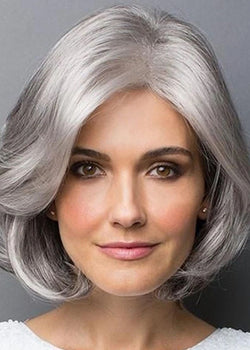 Short Hair Silver Synthetic Hair Fluffy Wigs