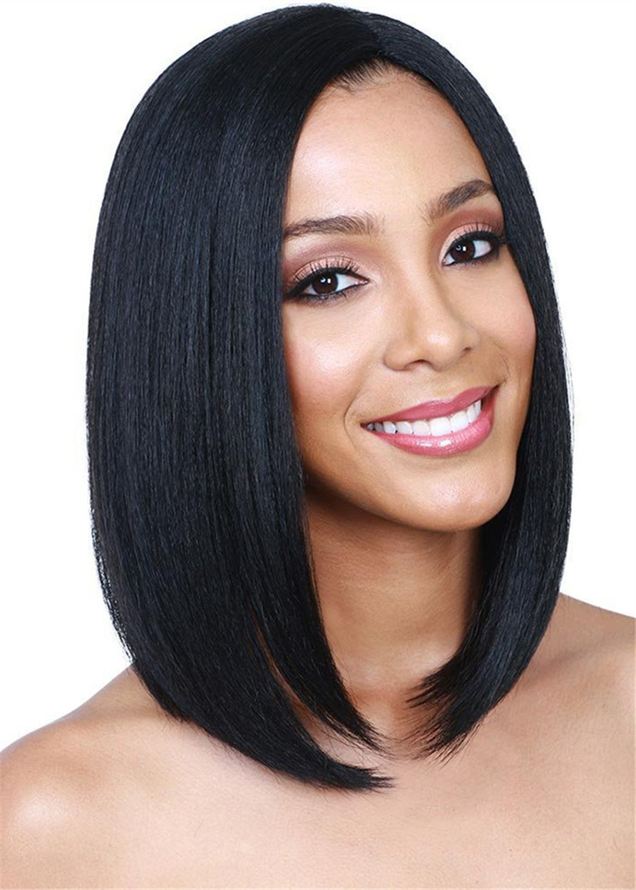 Women Capless Natural Straight Synthetic Hair 14 Inches Wigs Medium Bob Hairstyle