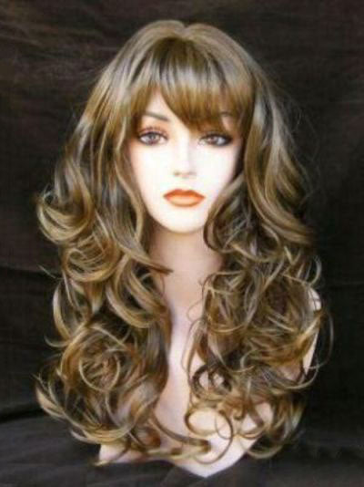 New Sexy Fasinating Long Wavy Mixed Brown Wig 22 Inches