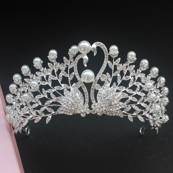 Fashion Swan Pearl Rhinestones Tiara Crown Hair Accessories