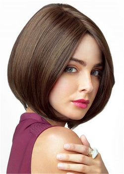 Natural Straight Capless Synthetic Hair Women Bob Hairstyle Wigs 14 Inches