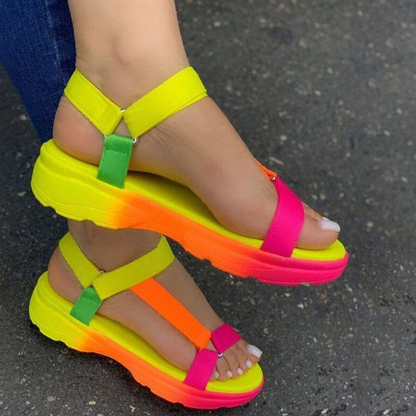 Open Toe Velcro Flat With Casual Candy Color Sandals