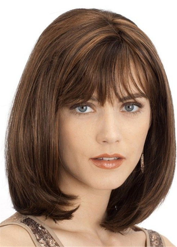 Natural Straight Lace Front Cap Women Synthetic Hair Wigs 14 Inches With Bangs