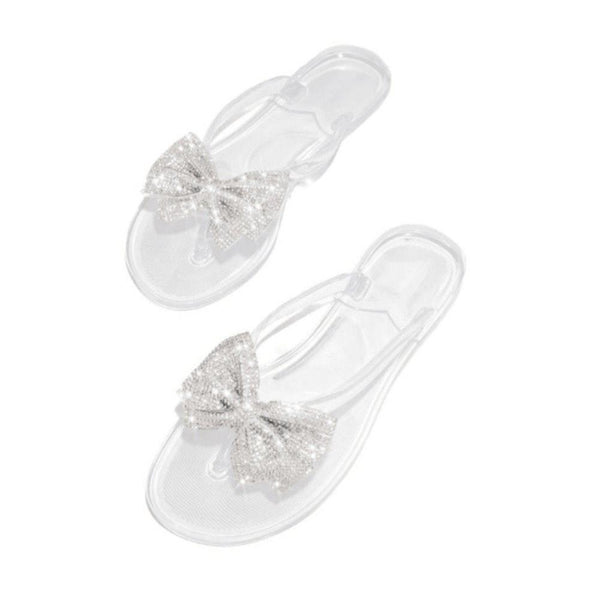 Rhinestone Thong Flat With Slip-On PVC Slippers