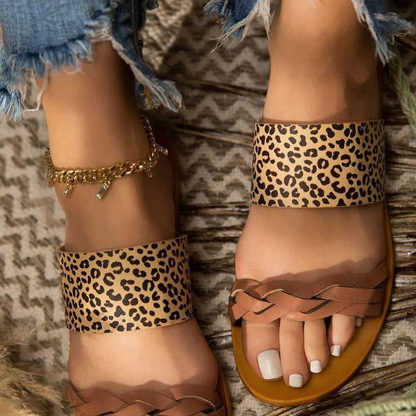 Flat With Flip Flop Slip-On Leopard Summer Slippers