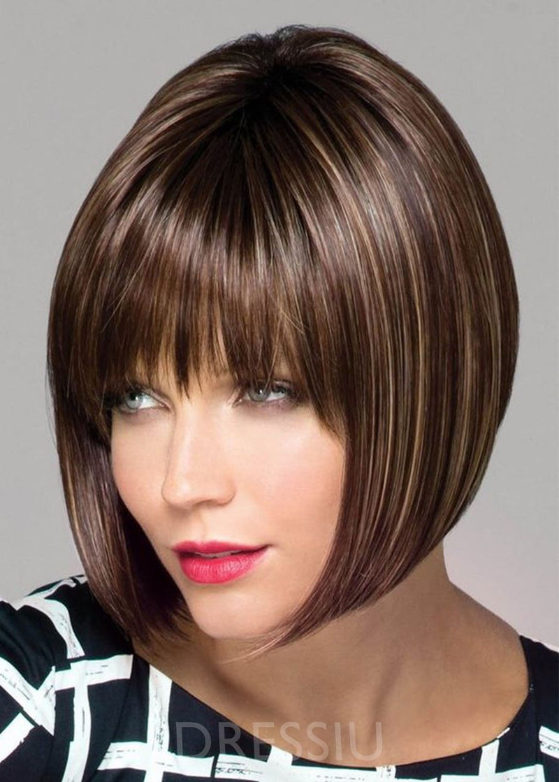 Medium Bob Hairstyles Women Natural Straight Synthetic Hair Lace Front Cap 14 Inches Wigs