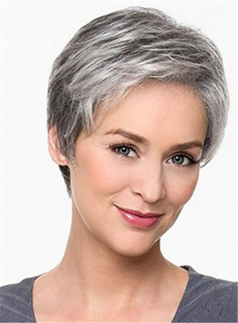 Salt and Pepper Short Straight Boycut Cut Synthetic Capless Wigs
