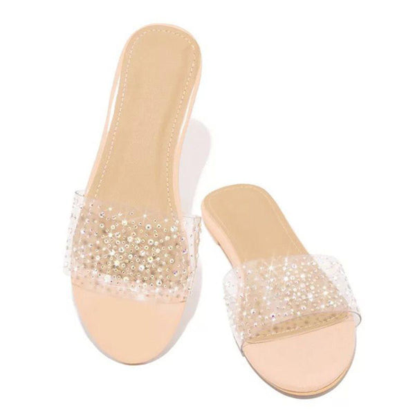 Flip Flop Block Heel Rhinestone Slip-On Casual Western Slippers