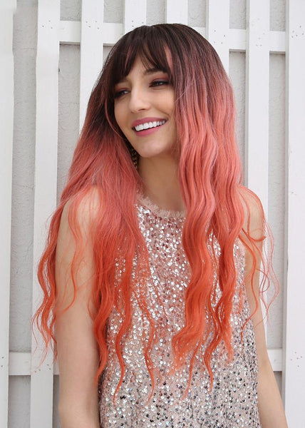 Ombre Hair Long Wavy Synthetic Hair With Bangs Women Wig 26 Inches