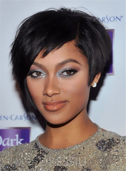 Elegant Tilted Smooth Layered Natural Short Bob Hairstyle Straight Women Human Hair Wigs