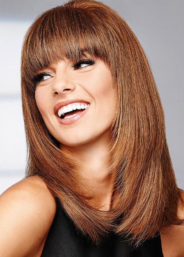 Women's Long Length Bob Hairstyles Brown Color Straight Synthetic Hair Wigs With Bangs Capless Wigs 20Inch