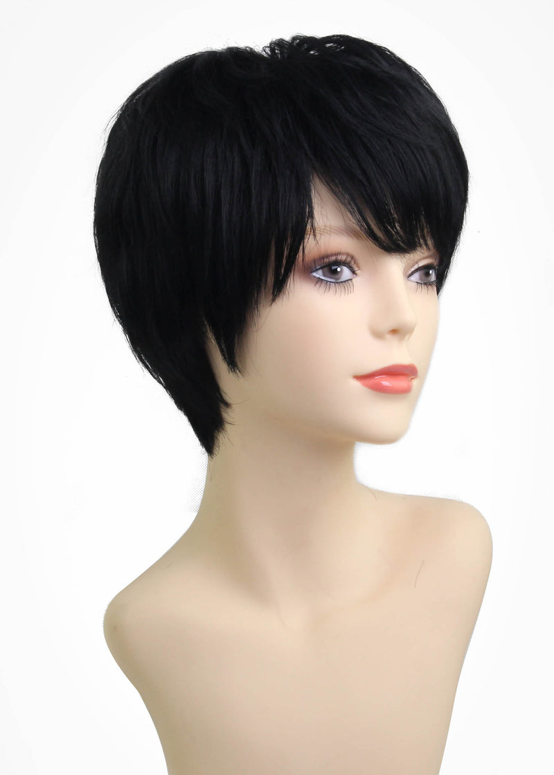 Black Short Hairstyle Exquisite 6 Inches Straight Human Hair Wigs With Side Part Bangs