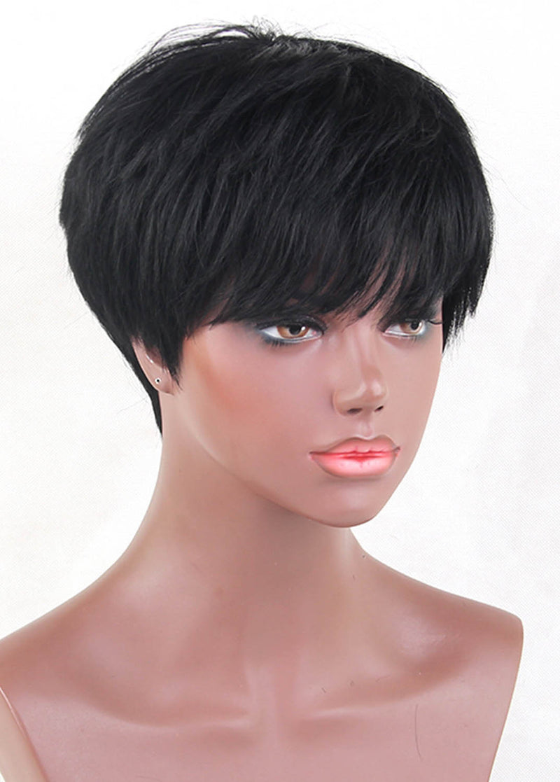 Exquisite 6 Inches Black Straight Human Hair Wigs With Bangs Short Hairstyle