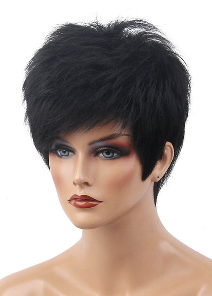 Short Hairstyle 6 Inches Black Straight Human Hair Wigs With Bangs