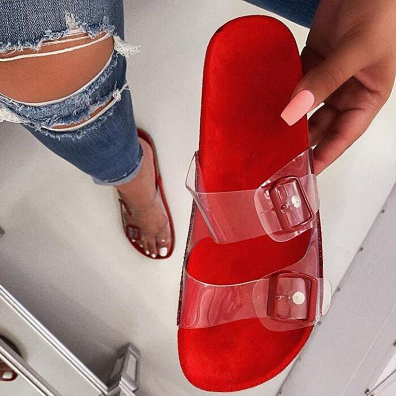 Buckle Slip-On Flat With Flip Flop PVC Slippers