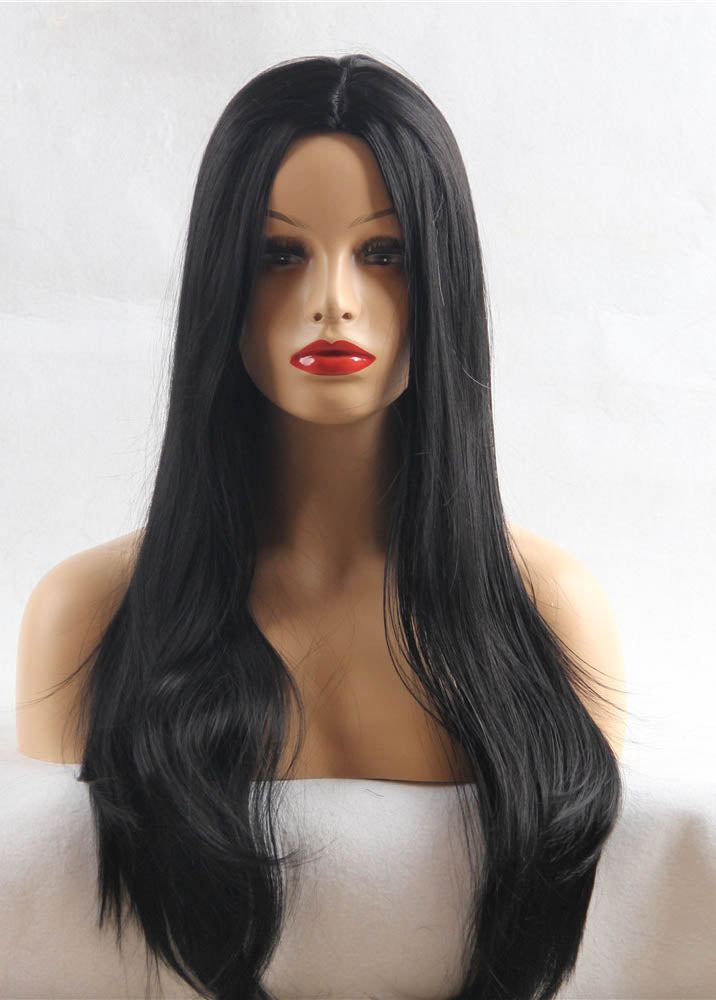 Long Straight Hairstyle Synthetic Wigs Black Capless 24 Inches Wig For Ladies