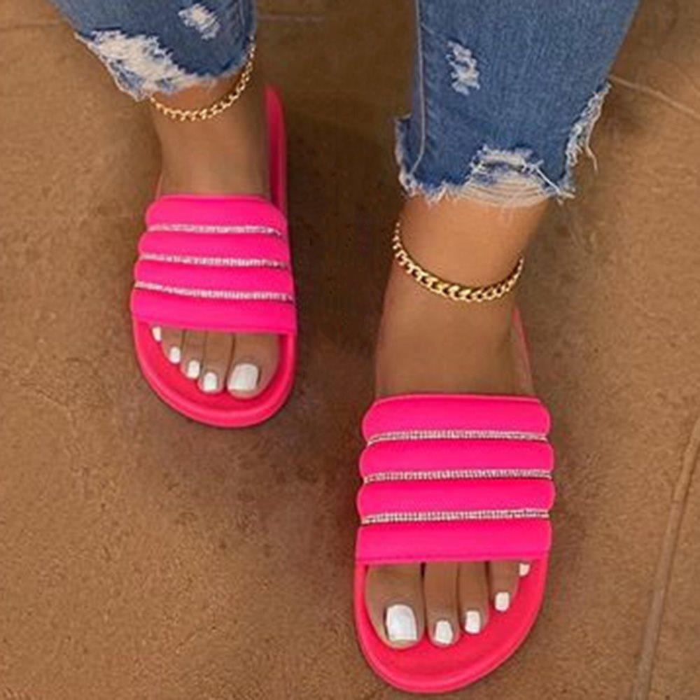 Flat With Flip Flop Slip-On Stripe Slippers