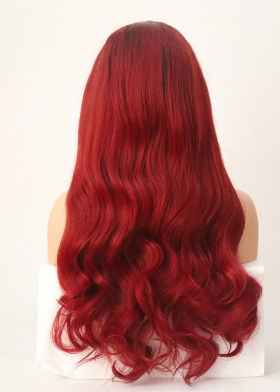 Lace Front Cap Synthetic Hair Wavy Red 24 Inches Wigs