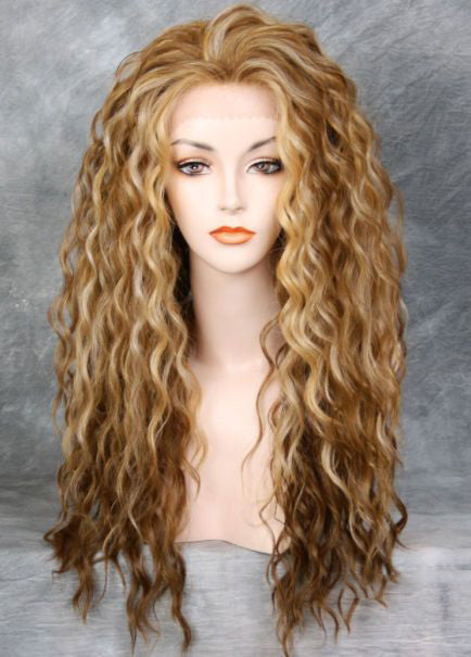 Long Wavy Synthetic Hair Lace Front Cap Women 24 Inches Wigs