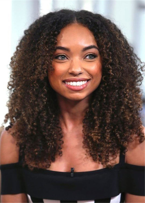 African American Synthetic Hair Curly Lace Front Cap Women 18 Inches Wigs