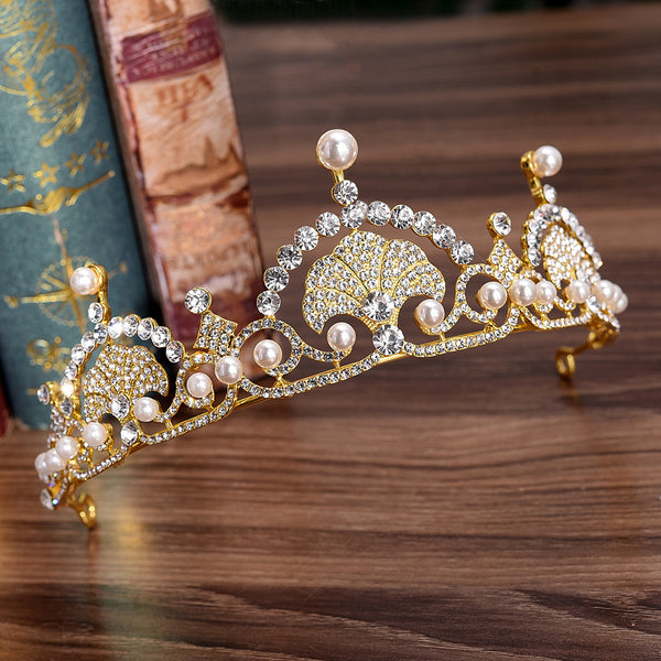 Fashion Shell-Shaped Pearl Rhinestones Tiara Crown Hair Accessories