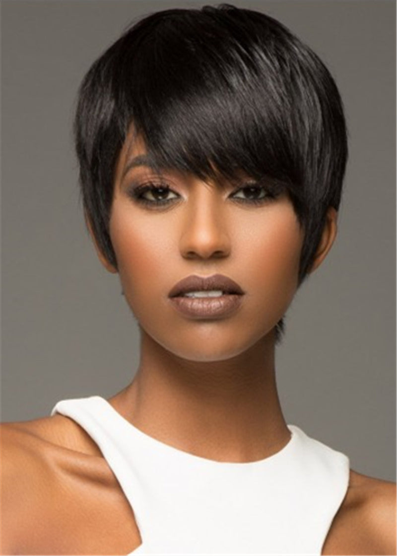 Synthetic Hair Women Lace Front Cap Straight 10 Inches Wigs