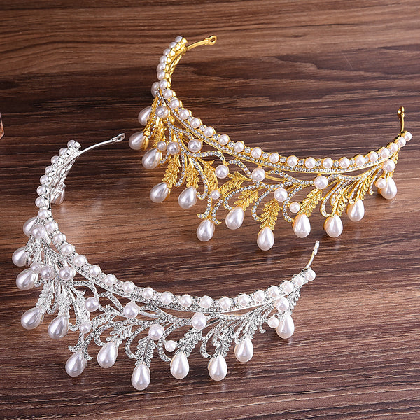 Fashion Leaves with Rhinestone Tiara Crown Hair Accessories